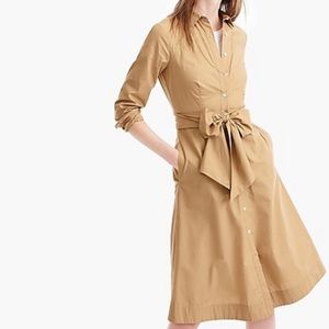 NWT J. Crew tie waist shirt dress cotton poplin